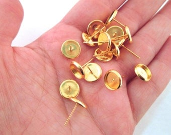 10mm bezel setting stud earrings, gold plated, with ear nuts, pick your amount, C160