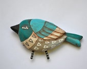 Original Hand-Painted Blue Bird Wooden Sculpture Folk Art Christmas Ornament OOAK