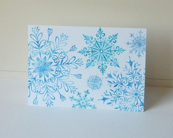 Snowflake Note Cards, Blank Note Cards Set, Blue Green Snowflake, Christmas Card Set, Holiday Note Cards, Thank You Cards, Winter