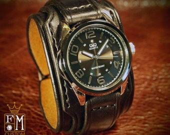 """Leather cuff watch Slick Black vintage style 2"""" Wide layered wristband bracelet made in NYC for YOU by Freddie Matara!"""