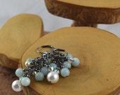 Amazonite and Swarovski Crystal and Pearl Glam cascade earrings perfect for prom weddings or just everyday