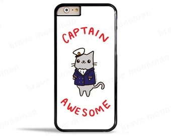 Samsung Galaxy S7 Case Captain Awesome Funny Phone Case Nautical iPhone 6s Case Cute Cat