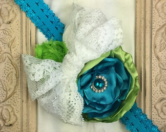 Floral Headband, Turquoise Satin Hair Flower Headband, Lime Green, Lace, Little Girl, Baby, Photo Prop, Handmade, Fabric Rolled Flower
