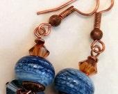 Blue Lampwork Copper Earrings, Blue Copper Earrings, Denim Earrings, Copper Earrings, Denim Dangle Copper Earrings, Blue Dangle Earrings