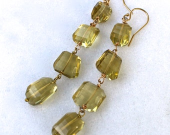 Linked Luminous Whiskey Quartz Faceted Nugget Earrings in gold vermeil...