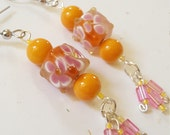 Beaded Earrings Tangerine Orange, Pink, And Yellow/ Floral/ Springtime Accessories/ Glass Beaded Dangle Earrings/ Handmade Fashion Jewelry