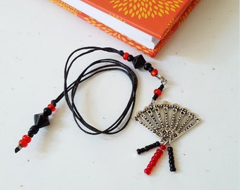 Beaded Bookmark Red And Black Fan / Glass Beaded Cotton Cord With Metal Charm/ Handmade For Book Lovers/ Journal Marker/ Readers