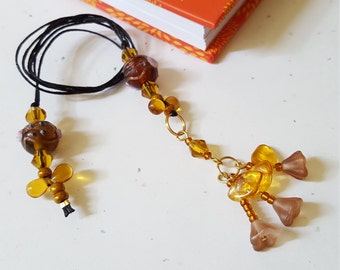 Beaded Bookmark Floral Bouquet/ Fall Color Handmade Flowers/ Glass Beaded Cord With Beaded Flower Charms/ Gift For Readers/ Journaling