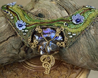 Boho Opal Necklace - Opal Statement Necklace - Opal Collar Necklace - Floral Bib Necklace - Opal Flower Necklace - Opal Floral Necklace