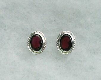 8x6mm Rhodolite Garnet Gemstones in 925 Sterling Silver Backset Bezel Stud Earrings January Birthstone