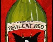 Cat Art - Devil Cat Red - Plak Mounted Print - Wine Art Work - Cat Gift - Wine Gift - Gift for Cat Lover