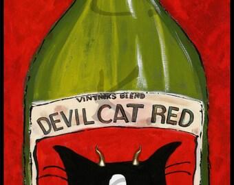 Wine Wall Art - Cat Wall Art - Devil Cat Red Tuxedo Cat Painting - Mounted Cat Print - Wine Art Work - Cat Gift - Wine Gift - Cat Lover Gift