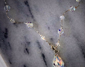 Swarovski Crystal sterling silver chain beaded  fancy stone necklace clear crystal Aurora Borealis