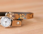Wrap Around Watch - Leather Womens Watch in the Melissa Pattern with Bees and Flowers - yellow, gold, turquoise and antique brown