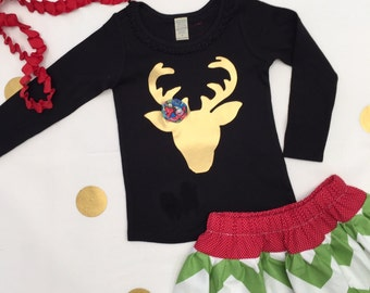 In Stock size 3 Girls Top Long Sleeve T Shirt Gold Deer Deer head Black Holiday Christmas