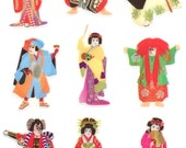 Japanese Stickers - Kabuki Stickers - Traditional Japanese Stickers - Japanese Theater Stickers   (S232)