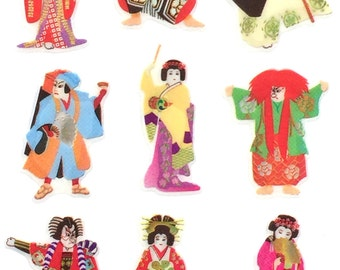 Japanese Stickers - Kabuki Stickers - Traditional Japanese Stickers - Japanese Theater Stickers   (S120)