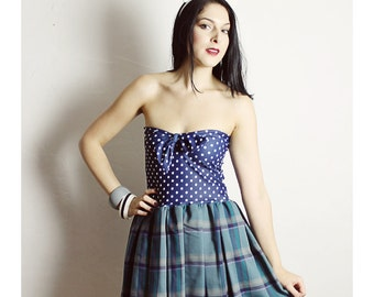 Handmade Blue Plaid Dress, Polka Dot Dress, Handmade Plaid Dress , BOW Dress, Woman Polka Dot Dress, Navy Blue Dress