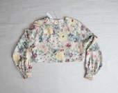 floral silk crop top / cropped blouse / long sleeve crop top