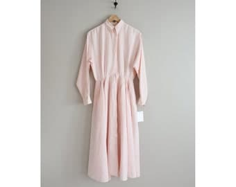 pink linen shirtdress | linen dress | collared pink dress