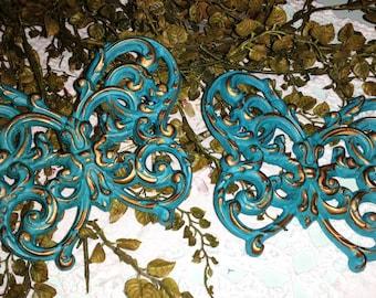 Set of 2 Vintage Upcycled Aqua Blue SYROCO SHABBY CHIC Butterflies Wall Decor, Nursery Decor