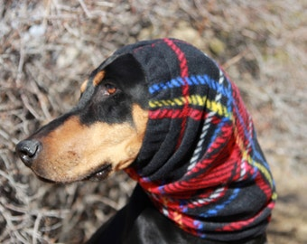 Snood for Large Dog - Red Plaid Polarfleece Snood for Dog - Snood for Doberman - Doberman Snood - Dog Snood