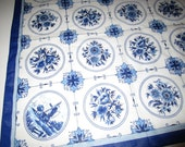 Delft Print Scarf - Blue and White Floral and Windmill Motifs - Vintage - Cotton - 22 inches Square