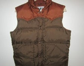 Down Ski Vest by White Fir of Palo Alto, California - Vintage 1970's - Men's Small - Quilted Puffy Vest Western Yoke Style