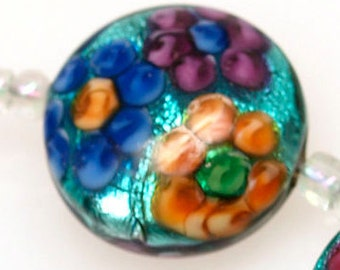 Pearly (5) metallic button lampwork beads with colorful flowers SRA Made to order