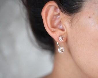 Crown Ear jacket. silver earrings. silver studs