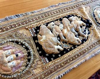 Kalaga Burmese Tapestry Wall Hanging with Dancers. Bohemian Decor. Tall Narrow Elaborate Ethnic Embroidery, Metal Sequins. Thai, India Art.