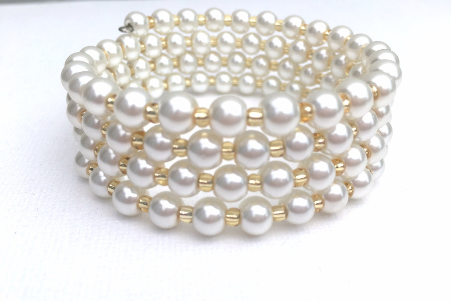 Ivory pearl wrap bracelet simple bridal jewelry plus size for Plus size jewelry bracelets