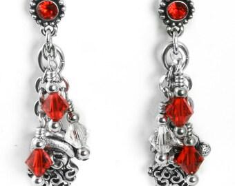 Silver Santa Earrings - Santa Claus - Christmas Earrings - Winter Holiday - Red Crystals - Dangle Earrings