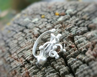 Handcrafted Silversmithed Whimsical Adjustable Sterling Silver Ring