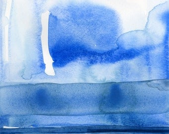 """Abstract Indigo Blue Zen Watercolor Painting, Serene, Peaceful, Tranquil, Original art """"Finding Tranquility 3"""" by Kathy Morton Stanion EBSQ"""