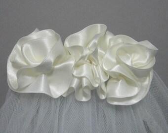 First Communion Veil - Flowers, Rolled Hem