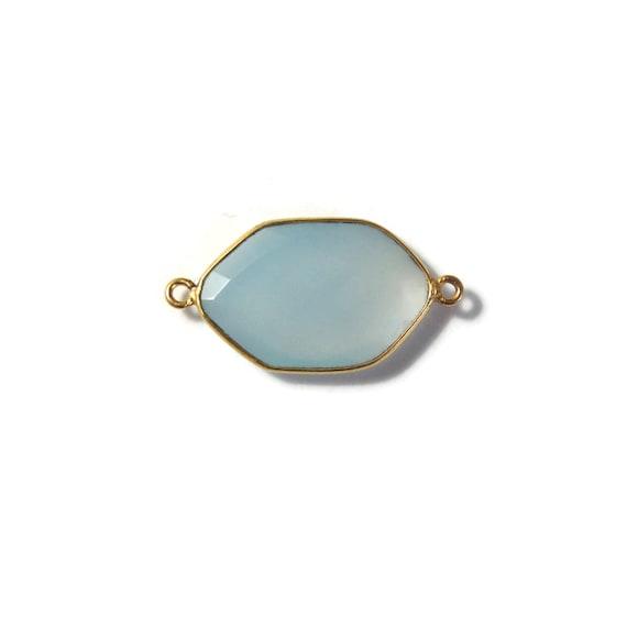 One Blue Gemstone Pendant, Pale Blue Chalcedony Gemstone Charm, Gold Plated Bezel, 29mm x 15mm (C-Ch1d)