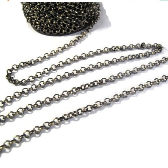 Antique Brass Chain, 4mm Plated Rolo Chain for Making Jewelry, By The Foot, Vintage Looking Chain, Large Chain (40099156)