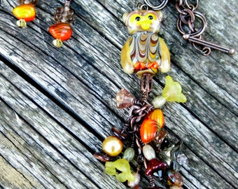 Owl necklace & matching earrings, lampwork glass owl on antiqued copper chain