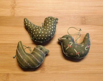 Christmas Green Birds Ornaments Bowl Fillers Decorations
