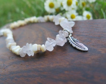 Anklet - Beaded Gemstone - Soft Pastel Beige Pink - Shell & Rose Quartz - Crystal Healing Gems - Good Vibes Free Spirit - Feather Charm