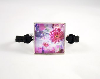 Pink Bracelet, Flower Art Print Bracelet, Abstract Jewelry, Gardner Bracelet, Teen Gift, Sister Birthday Gift