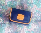 RESERVED! 90's JORDACHE wallet // // vegan / navy and tan trim / bifold / pocket / mirror / scalloped / 1990s / victory / classic / man made