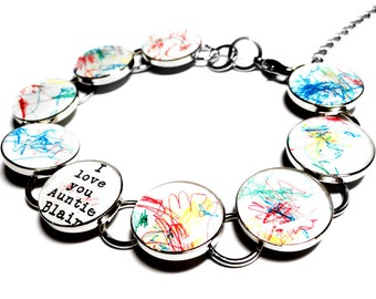 Custom Personalized Bracelet, Childrens Artwork, Gift for Mom, Silver Resin Charm Link Bracelet, Childs Art, Kids, Family Gift, Mothers Day