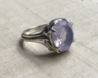 Lavender Moon Quartz and Sterling- Damselfly and Dragonfly Ring