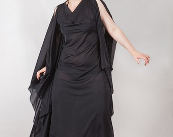 Witching Hour Drape Dress, Gothic, Ritual, Strega Dress, custom size.