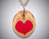 Love in a Nutshell Retro Walnut and Heart Pendant OOAK #7 with aGold Chain Necklace (choice of 16 or 22 inches)