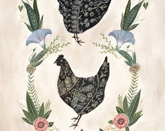 Two Hens - Print