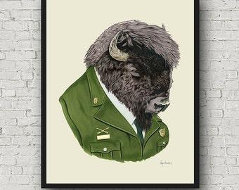 Oversized Bison print - Buffalo print - Ryan Berkley Illustration - 16x20 or 20x28 inches - Modern Decor - Modern Nursery - Modern Kids