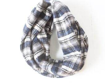 Infinity Scarf - Plaid - Flannel - Oversized - Dark Blue, Grey, White, and Black - Warm - Winter- Cozy - Unisex
